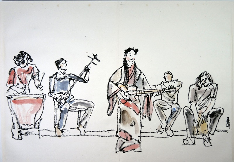 A brush painting of a performance by The Sages. Source: Yijia Tu