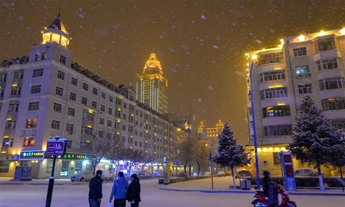 Snowfall hits Manzhouli in north China's Inner Mongolia